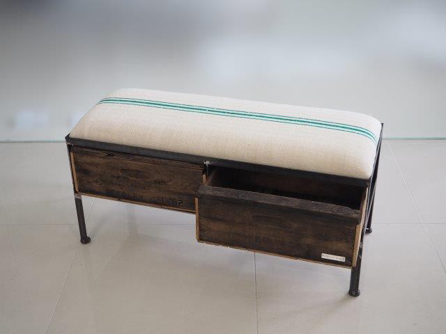 品番UES2-113  2drawer ottoman[nerrow/European grain sacks]
