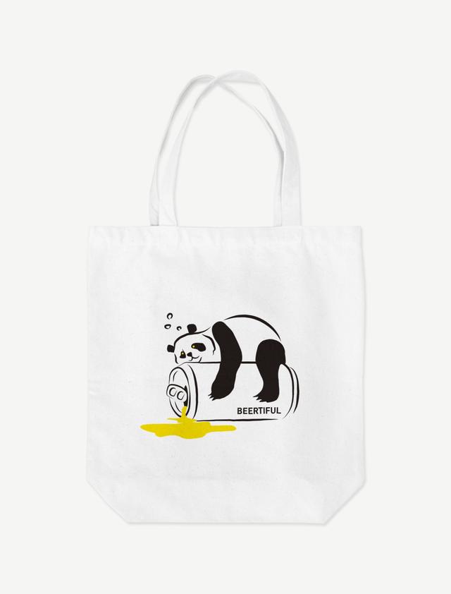 【ほろ酔いパンダ】トートバッグ(ホワイト)