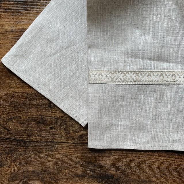 """""""  Latvia  Linen kitchen cloth / ラトビア リネン キッチンクロス ジャガードテープ """""""