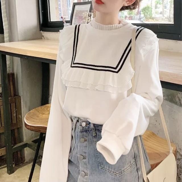フリル シンプル セーター トップス 2色 B5026【11/28まで30%OFF!!】