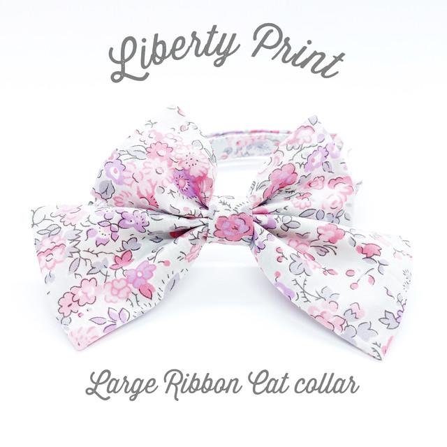 猫 首輪 ラージリボン ピンク 薄グレー 花柄 リバティプリント × Tatum