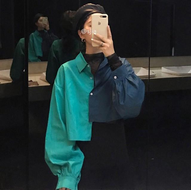 【トップス】好感度UPファッション 配色 POLOネック 切り替え 長袖 シャツ32174935