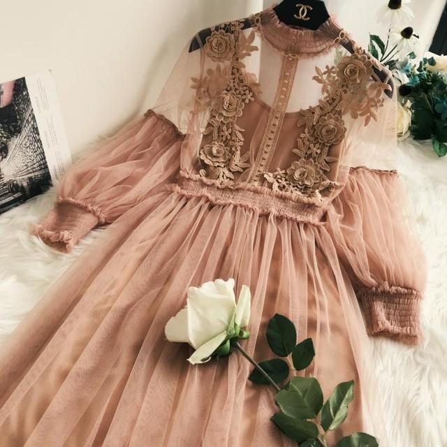 売れ筋 総レース ワンピース お呼ばれ ドレス 5色 RPSK012503