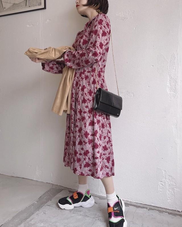 vintage leaf pattern bowtie dress