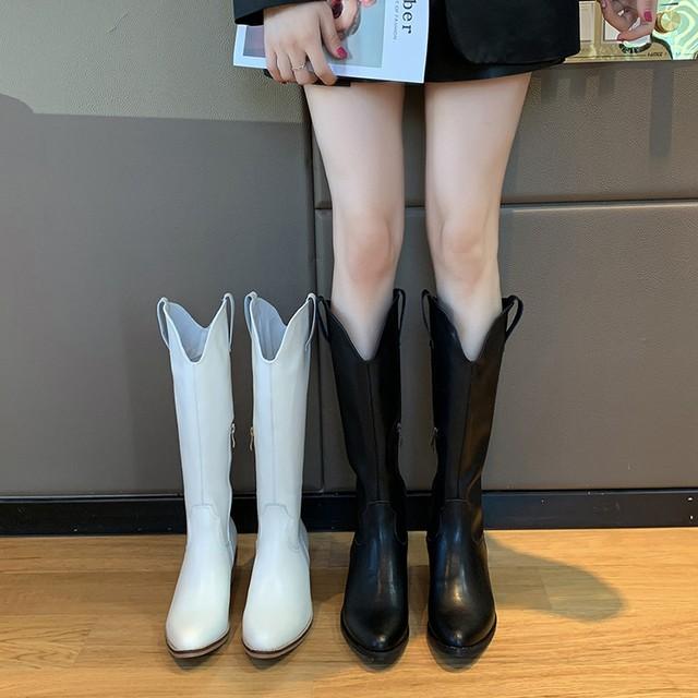 【シューズ】ファッションポインテッドトゥ人気合わせやすいミドルヒールロング丈ブーツ33402749