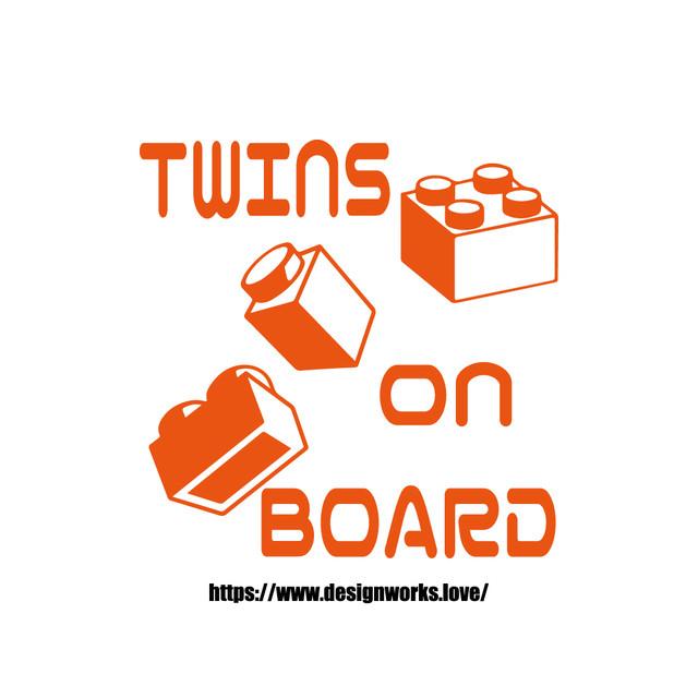全10色 TWINS ON BOARD ブロック ステッカー