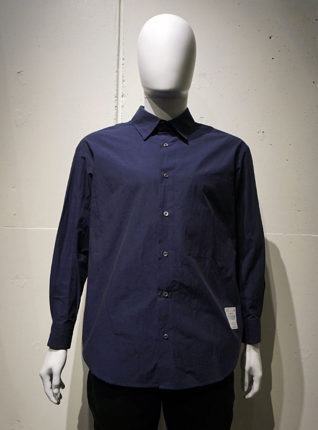 POETRY OF BIRDS Typewriter Cotton shirt ネイビー