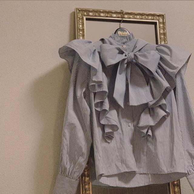 【Désir original】2way ribbon blouse