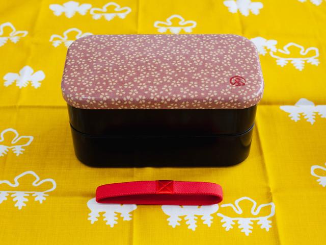 和布(わふ)布貼長角二段弁当L 桜(30118)