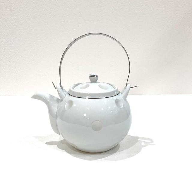 銀ライン彫水玉 土瓶 (ステンレス弦)