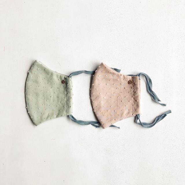 春夏用⭐︎マスク2枚セット:dot mask スモーキーミンティ&ほんのりピンク *大人サイズ