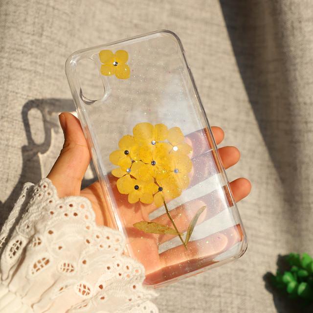 【iPhone11シリーズ対応】こんまり黄色<紫陽花>モチーフ ドライフラワー かわいい押し花UVレジン(SPCa0243YE)◆スマホケース/iPhoneケース