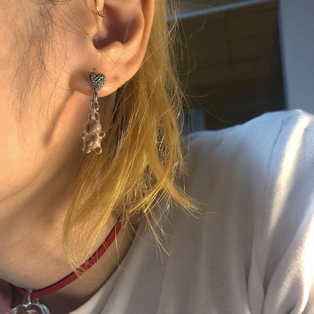 ガラスのうさぎearring 片耳 silver925  #LJ20061P