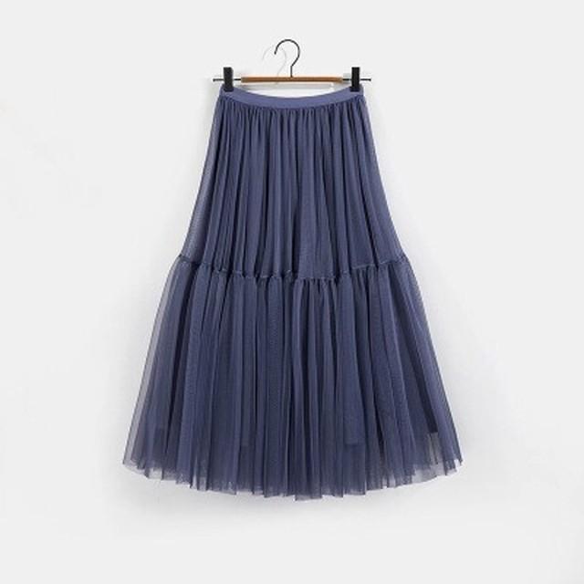 【スカート】チュールスカート・アッシュパープル