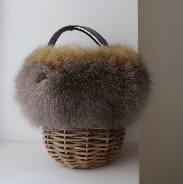 [Fur-Shoulder-Basket / Gururi]  #Greige×Yellow