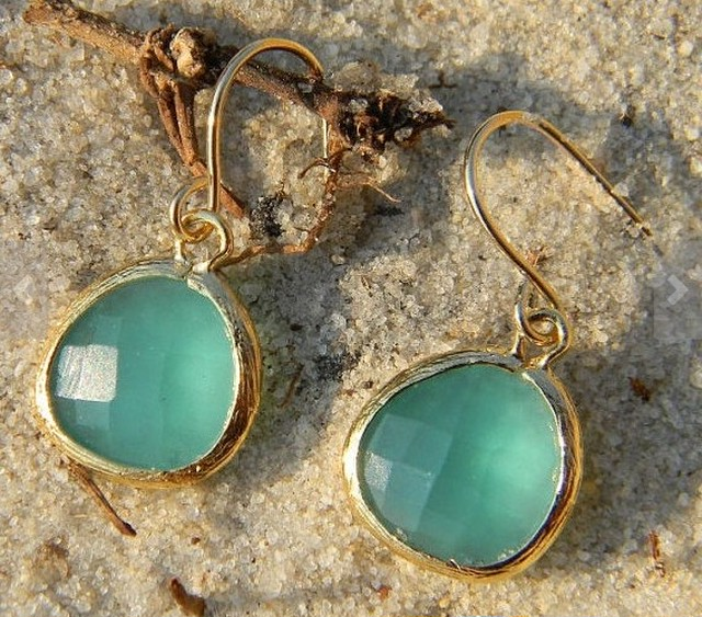 Aqua Blue Dangle pierced earrings