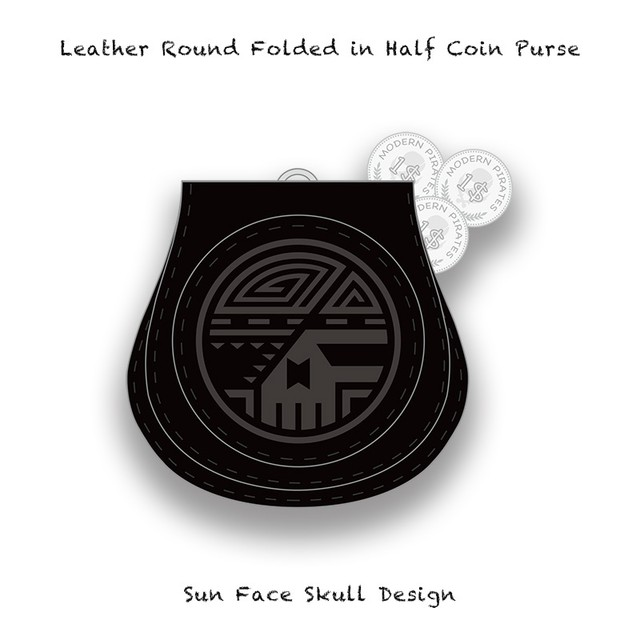 Leather Coin Purse / Sun Face Skull Design 005