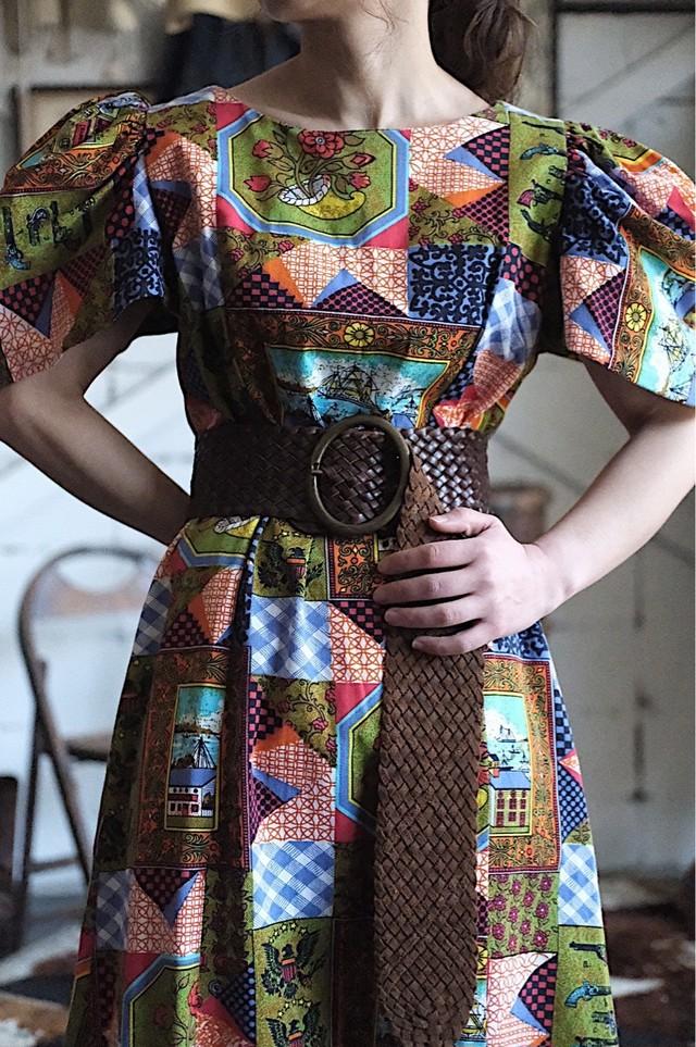 Vintage patchwork printed dress
