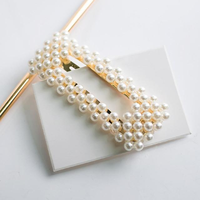 送料無料★【パールヘアピン スクエア】 ヘアピン ヘアアクセサリー パール パールピン 流行 人気 ヘア アイテム かわいい おしゃれ pearl 真珠