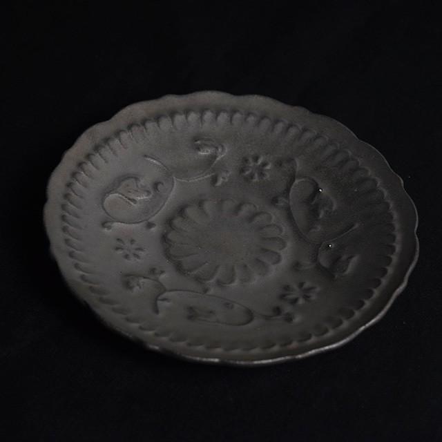 マルヤマウェア ブロンズ陽刻皿 20cm