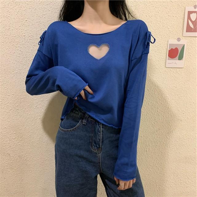 【トップス】韓国系ラウンドネックショート丈透かし彫りプルオーバーTシャツ41248704
