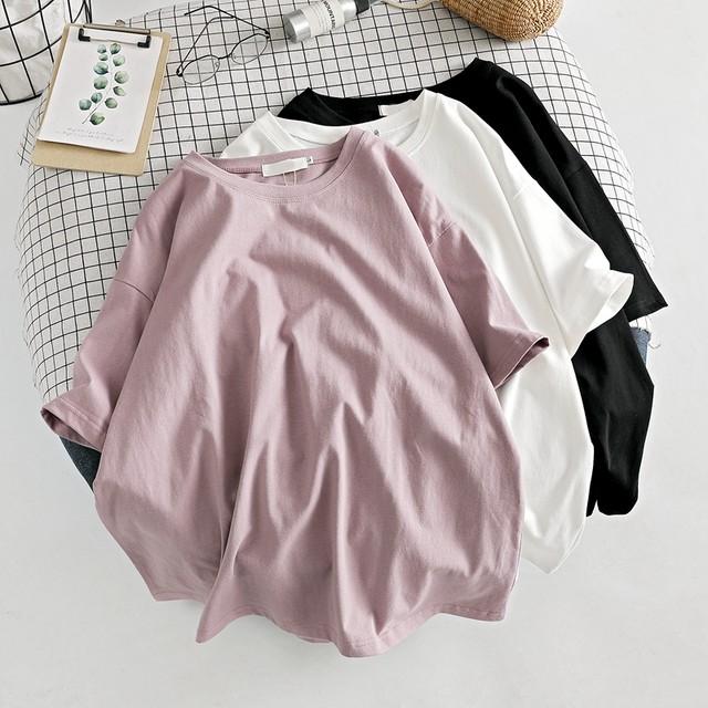 【トップス】カジュアルラウンドネック無地プルオーバー半袖Tシャツ41311489