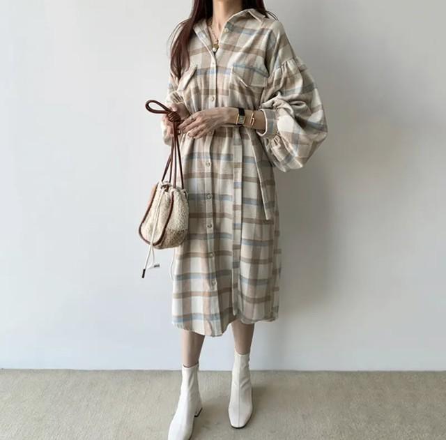 【韓国レディースファッション】 6295 チェック柄 ウエスマーク シャツ ワンピース ボリューム袖 送料無料