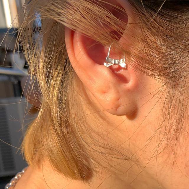 ribbon pin earring short SILVER925 #1727
