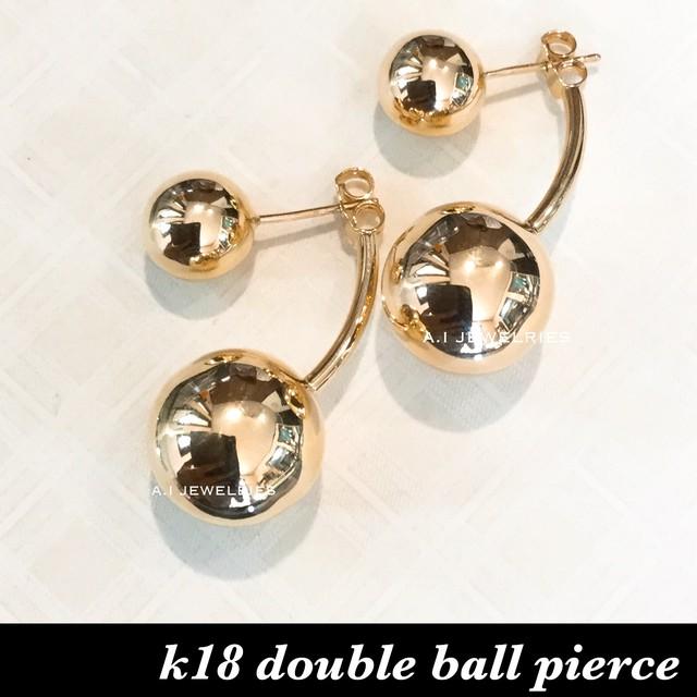 k18 18金 double ball pierce / ダブル ボール ピアス 10mm 15mm