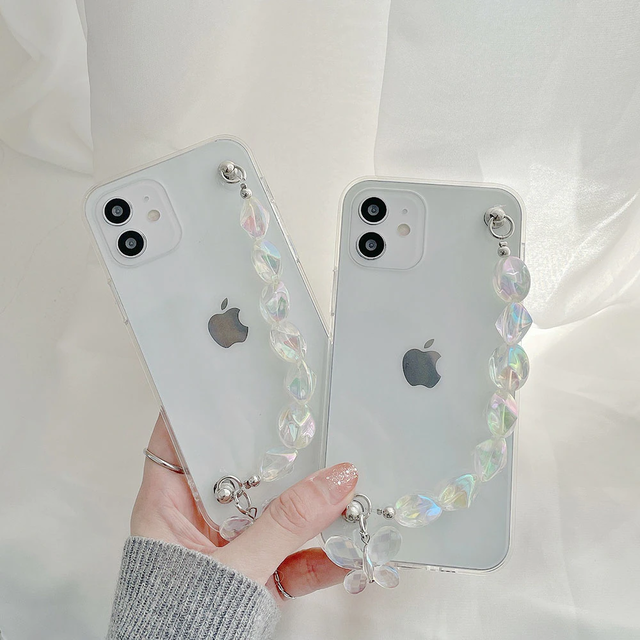 Diamond butterfly chain iphone case