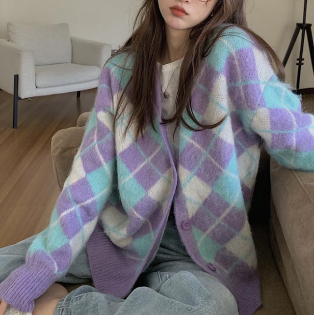 【人気NO.14】Diamond pattern knit cardigan LD0666