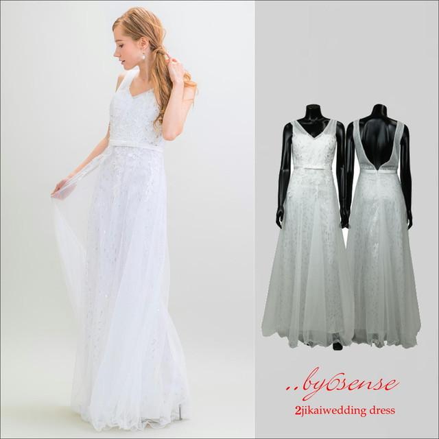 (結婚式二次会ウェディング)~ロングドレス~   ホワイト(dr0025-W)