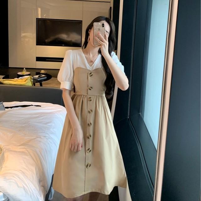【dress】ファッション配色切り替えレトロボタン飾り気質Ⅴネック半袖カジュアルワンピース