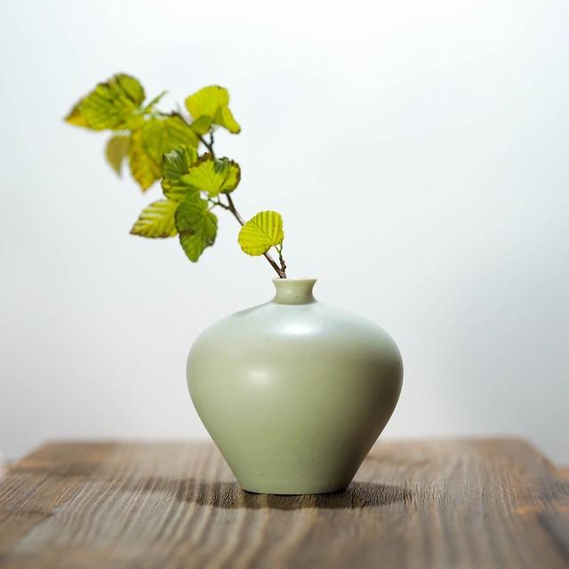 asanomi 花器3000 グリーン【陶器 一輪挿し】
