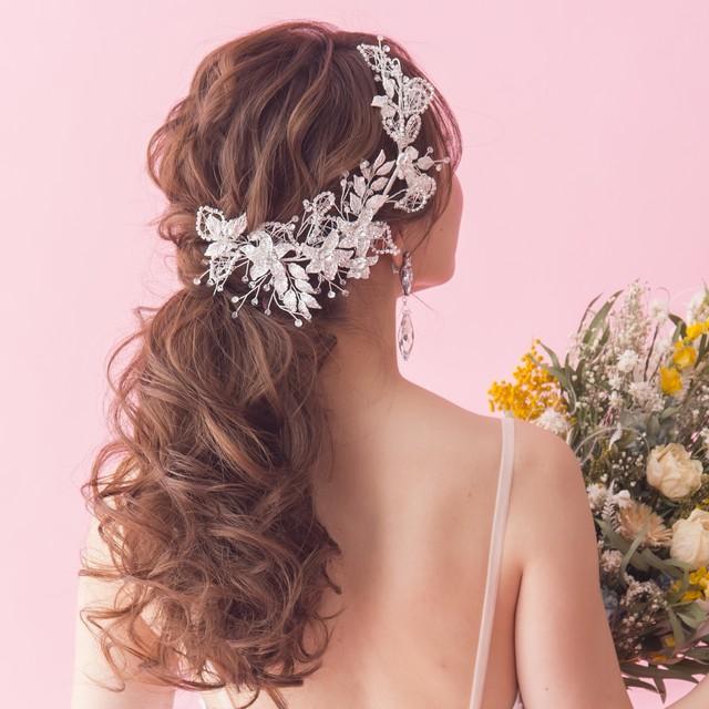 violet flower romantic ブライダルヘッドドレス