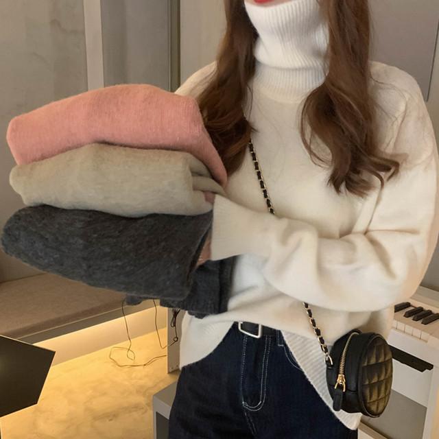 【tops】ニットセーター女子力アップレースVネック長袖ファッション