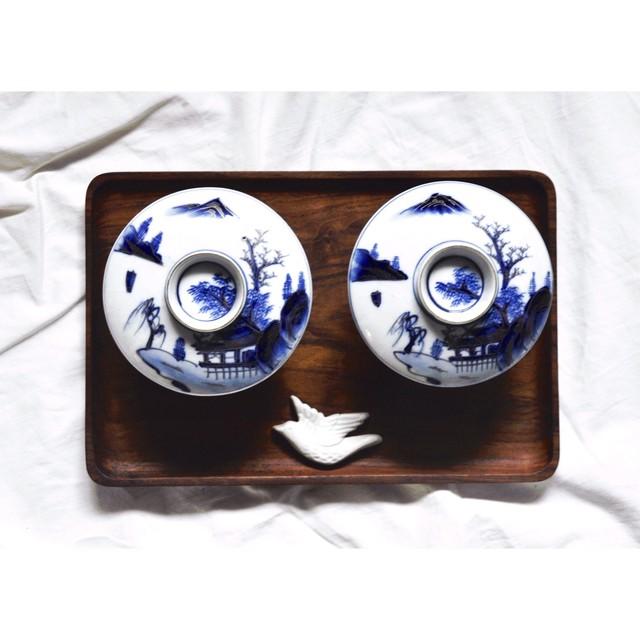 【 九谷焼飯茶碗 】染付 / 金彩 / 小丼 / 丼 /  藍九谷 / antique / japan