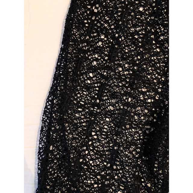 Black crochet knit pants