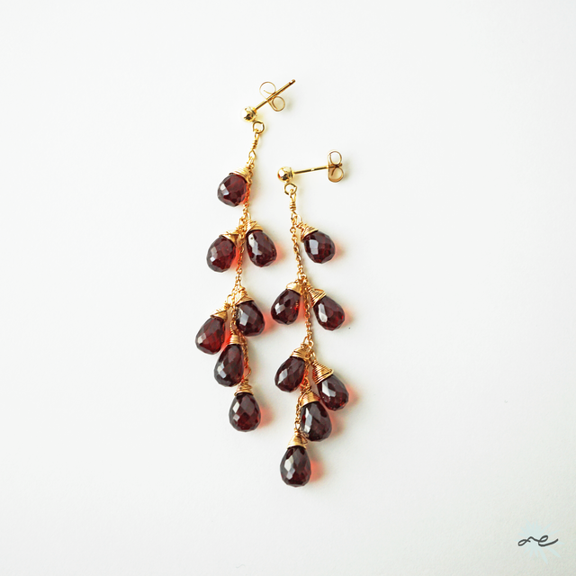 Garnet Cluster Earrings/14KGF