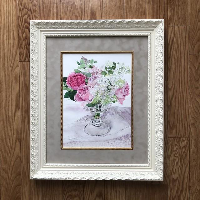 F4サイズ バラのブーケの絵のオーダー - F4 size rose bouquet picture order