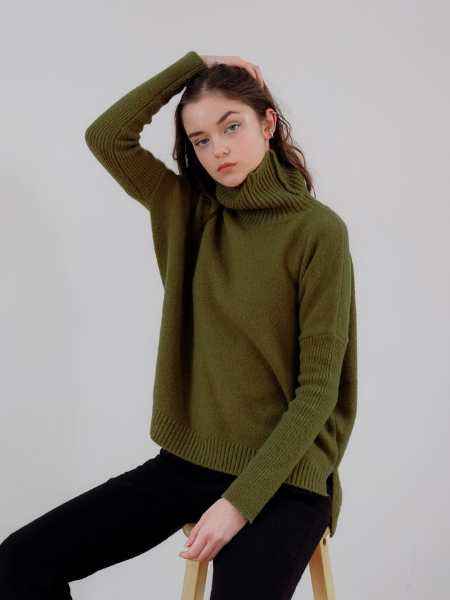 fitted sleeve turtle knit(green)