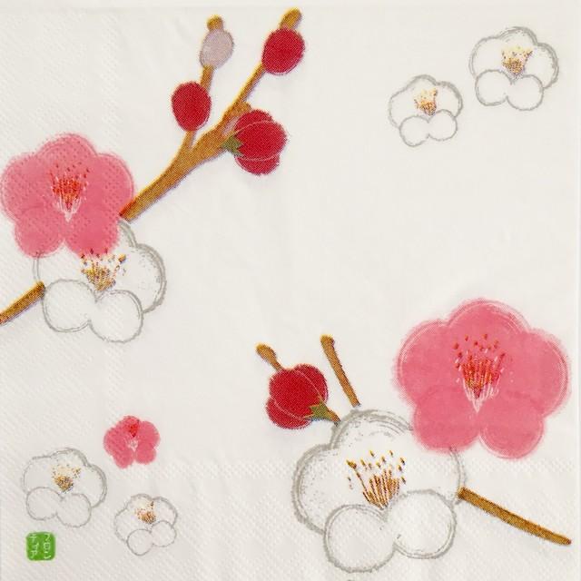 【FRONTIA】バラ売り1枚 ランチサイズ ペーパーナプキン 紅梅白梅 ホワイト