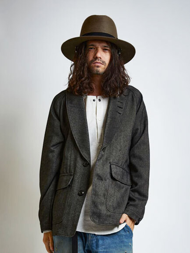 EGO TRIPPING (エゴトリッピング) SHAWL HUNTING JACKET ショールハンティングジャケット / MOKU CHARCOAL 613754-04