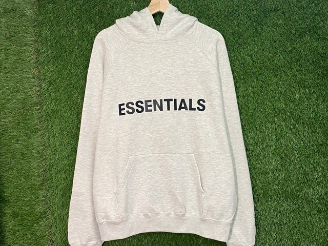 ESSENTIALS 20SS RUBBER LOGO PATCH HOODIE GREY