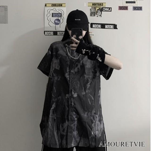 シャツ ブラウス ロング カジュアル モノトーン スマート 半袖 ピープス ストリート オルチャン 韓国ファッション 1453