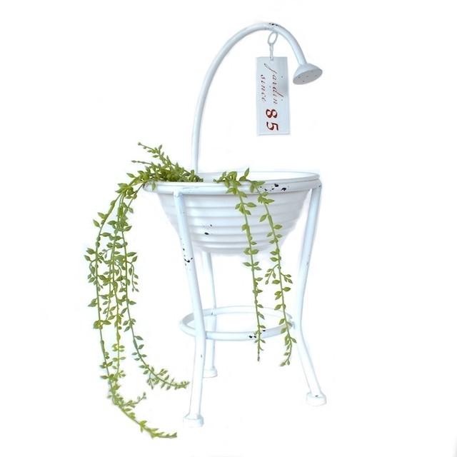 7061 シャワー プランターシャワーバケット シャワーボウルホワイト 植木鉢 ホワイト シャビーシック 底穴あり アイアン 鉢 オーナメント