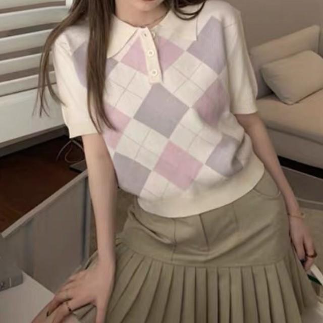 レトロガーリー♡アーガイルチェックポロニットシャツ B0564