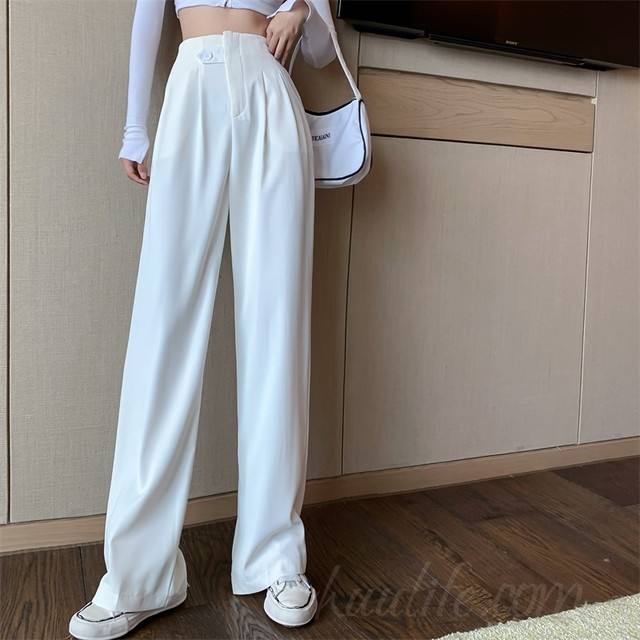 【ボトムス】質感のいいシンプルファッションハイウエスト無地ファッションカジュアルパンツ42305570