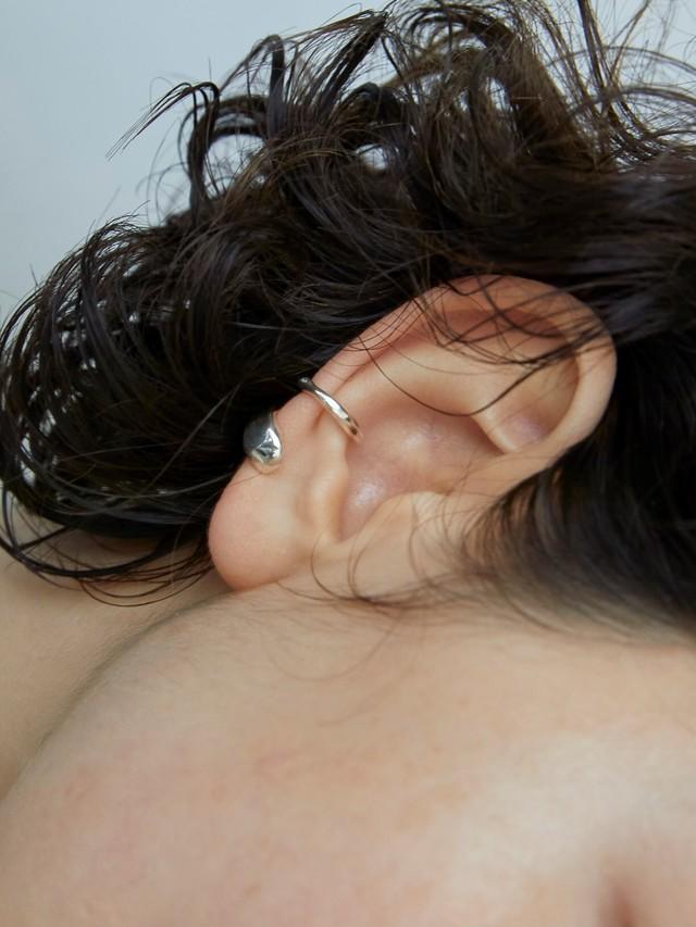 <予約>line point earcuff silver