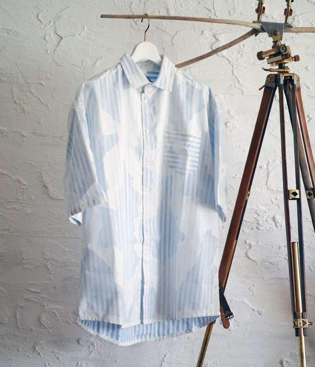 KA WA KEY - DEVORE STRIPED OVERSIZED SHIRT (サイズ特注)- DLSR 02.01